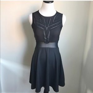 ASTR Black Skater Dress with Mesh Detailing
